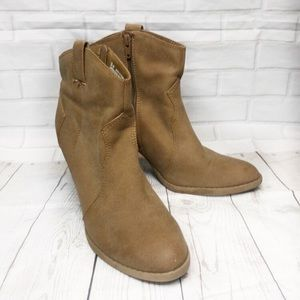 American Eagle Outfitters Shoes - AEO Brown Tan Zip Heel Ankle Boots